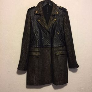 Walter Baker Faux Leather Gold & Black Tweed Coat